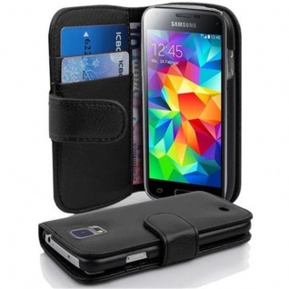 Cadorabo Hülle für Samsung Galaxy S5 MINI / S5 MINI DUOS in OXID SCHWARZ ? Handyhülle aus strukturiertem Kunstleder mit Standfunktion und Kartenfach ? Case Cover Schutzhülle Etui Tasche Book Klapp Style