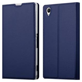 Cadorabo Hülle für Sony Xperia Z1 in CLASSY DUNKEL BLAU - Handyhülle mit Magnetverschluss, Standfunktion und Kartenfach - Case Cover Schutzhülle Etui Tasche Book Klapp Style