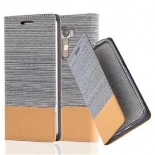 Cadorabo Hülle für LG G3 in HELL GRAU BRAUN - Handyhülle mit Magnetverschluss, Standfunktion und Kartenfach - Case Cover Schutzhülle Etui Tasche Book Klapp Style
