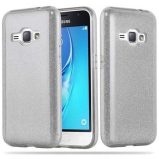 Cadorabo Hülle für Samsung Galaxy J1 2016 - Hülle in STERNENSTAUB SILBER ? TPU Silikon und Hardcase Handyhülle im Glitzer Design - Hard Case TPU Silikon Schutzhülle