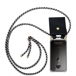 Cadorabo Handy Kette für Motorola MOTO Z2 FORCE in DUNKELBLAU GELB - Silikon Necklace Umhänge Hülle mit Gold Ringen, Kordel Band Schnur und abnehmbarem Etui ? Schutzhülle