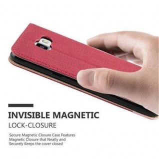 Cadorabo Hülle für Samsung Galaxy A3 2016 - Hülle in PINKY ROT ? Handyhülle in Bast-Optik mit Kartenfach und Standfunktion - Case Cover Schutzhülle Etui Tasche Book Klapp Style - Vorschau 5