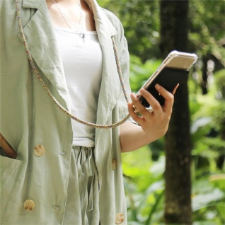 Cadorabo Handy Kette für Samsung Galaxy M20 in RAINBOW - Silikon Necklace Umhänge Hülle mit Gold Ringen, Kordel Band Schnur und abnehmbarem Etui ? Schutzhülle - Vorschau 3