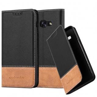 Cadorabo Hülle für Samsung Galaxy A5 2017 in SCHWARZ BRAUN ? Handyhülle mit Magnetverschluss, Standfunktion und Kartenfach ? Case Cover Schutzhülle Etui Tasche Book Klapp Style