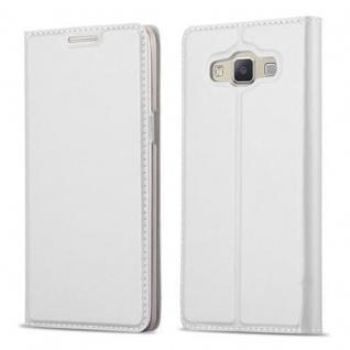 Cadorabo Hülle für Samsung Galaxy A5 2015 in CLASSY SILBER - Handyhülle mit Magnetverschluss, Standfunktion und Kartenfach - Case Cover Schutzhülle Etui Tasche Book Klapp Style