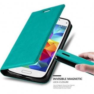 Cadorabo Hülle für Samsung Galaxy S5 MINI / S5 MINI DUOS in PETROL TÜRKIS Handyhülle mit Magnetverschluss, Standfunktion und Kartenfach Case Cover Schutzhülle Etui Tasche Book Klapp Style