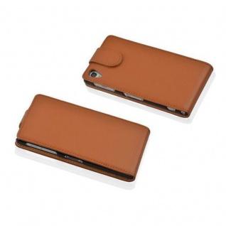 Cadorabo Hülle für Sony Xperia Z1 COMPACT in COGNAC BRAUN - Handyhülle im Flip Design aus strukturiertem Kunstleder - Case Cover Schutzhülle Etui Tasche Book Klapp Style - Vorschau 2