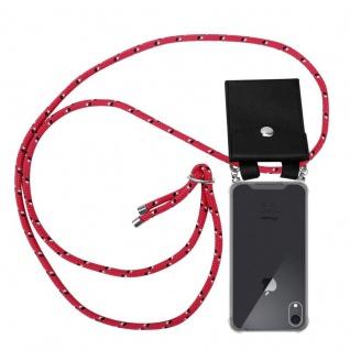 Cadorabo Handy Kette für Apple iPhone XR in PINK SCHWARZ WEISS GEPUNKTET - Silikon Necklace Umhänge Hülle mit Silber Ringen, Kordel Band Schnur und abnehmbarem Etui - Schutzhülle