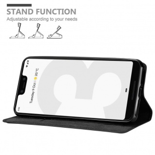Cadorabo Hülle für Google Pixel 3 in NACHT SCHWARZ - Handyhülle mit Magnetverschluss, Standfunktion und Kartenfach - Case Cover Schutzhülle Etui Tasche Book Klapp Style - Vorschau 4