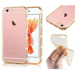 Cadorabo Hülle für Apple iPhone 6 / iPhone 6S - Hülle in TRANSPARENT GOLD - Handyhülle aus TPU Silikon im Strass Design - Silikonhülle Schutzhülle Ultra Slim Soft Back Cover Case Bumper