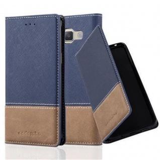 Cadorabo Hülle für Samsung Galaxy A3 2015 in DUNKEL BLAU BRAUN - Handyhülle mit Magnetverschluss, Standfunktion und Kartenfach - Case Cover Schutzhülle Etui Tasche Book Klapp Style
