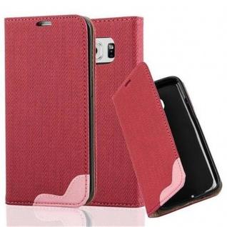 Cadorabo Hülle für Samsung Galaxy S6 EDGE - Hülle in PINKY ROT ? Handyhülle in Bast-Optik mit Kartenfach und Standfunktion - Case Cover Schutzhülle Etui Tasche Book Klapp Style