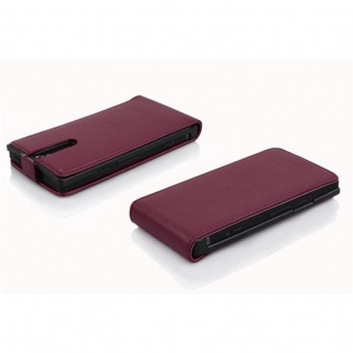 Cadorabo Hülle für Sony Xperia S in BORDEAUX LILA - Handyhülle im Flip Design aus strukturiertem Kunstleder - Case Cover Schutzhülle Etui Tasche Book Klapp Style - Vorschau 3