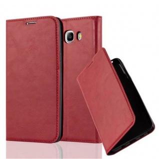 Cadorabo Hülle für Samsung Galaxy J7 2016 in APFEL ROT - Handyhülle mit Magnetverschluss, Standfunktion und Kartenfach - Case Cover Schutzhülle Etui Tasche Book Klapp Style