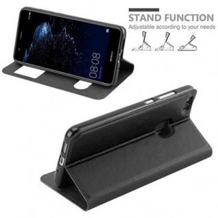 Cadorabo Hülle für Huawei P10 LITE in KOMETEN SCHWARZ ? Handyhülle mit Magnetverschluss, Standfunktion und 2 Sichtfenstern ? Case Cover Schutzhülle Etui Tasche Book Klapp Style - Vorschau 5