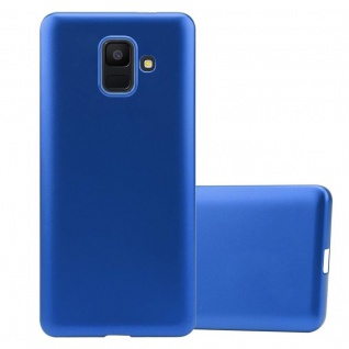 Cadorabo Hülle für Samsung Galaxy A6 2018 in METALLIC BLAU - Handyhülle aus flexiblem TPU Silikon - Silikonhülle Schutzhülle Ultra Slim Soft Back Cover Case Bumper