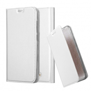 Cadorabo Hülle für WIKO VIEW in CLASSY SILBER - Handyhülle mit Magnetverschluss, Standfunktion und Kartenfach - Case Cover Schutzhülle Etui Tasche Book Klapp Style