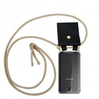 Cadorabo Handy Kette für Samsung Galaxy NOTE 3 in GLÄNZEND BRAUN - Silikon Necklace Umhänge Hülle mit Gold Ringen, Kordel Band Schnur und abnehmbarem Etui ? Schutzhülle