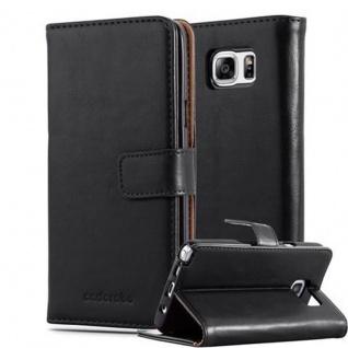 Cadorabo Hülle für Samsung Galaxy NOTE 5 in GRAPHIT SCHWARZ ? Handyhülle mit Magnetverschluss, Standfunktion und Kartenfach ? Case Cover Schutzhülle Etui Tasche Book Klapp Style