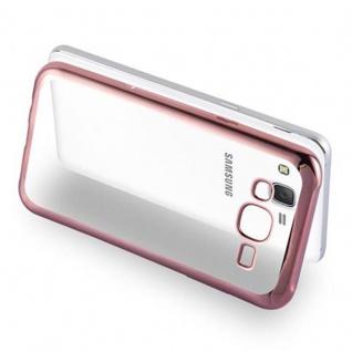 Cadorabo Hülle für Samsung Galaxy J5 2015 - Hülle in TRANSPARENT mit CHROM ROSEGOLD ? Handyhülle aus TPU Silikon im Chrom Design - Silikonhülle Schutzhülle Ultra Slim Soft Back Cover Case Bumper - Vorschau 3