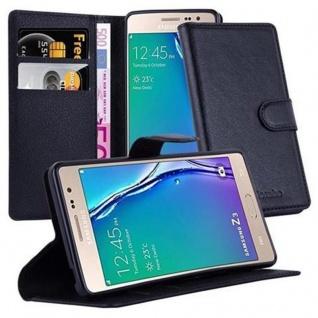 Cadorabo Hülle für Samsung Galaxy Z3 in PHANTOM SCHWARZ Handyhülle mit Magnetverschluss, Standfunktion und Kartenfach Case Cover Schutzhülle Etui Tasche Book Klapp Style