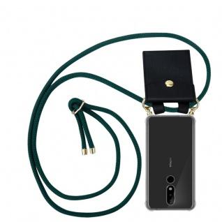 Cadorabo Handy Kette für Nokia 5.1 Plus in ARMEE GRÜN Silikon Necklace Umhänge Hülle mit Gold Ringen, Kordel Band Schnur und abnehmbarem Etui Schutzhülle