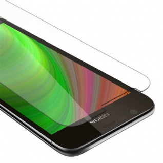 Cadorabo Panzer Folie für Nokia 1 2017 - Schutzfolie in KRISTALL KLAR - Gehärtetes (Tempered) Display-Schutzglas in 9H Härte mit 3D Touch Kompatibilität
