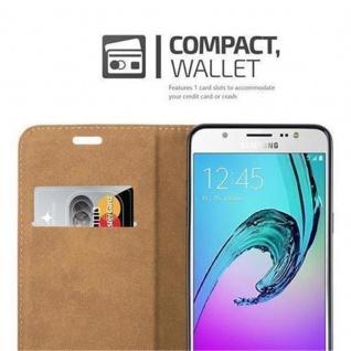 Cadorabo Hülle für Samsung Galaxy J5 2016 (6) - Hülle in KASTANIEN BRAUN - Handyhülle in Bast-Optik mit Kartenfach und Standfunktion - Case Cover Schutzhülle Etui Tasche Book Klapp Style - Vorschau 3