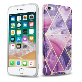 Cadorabo Hülle für Apple iPhone 6 / iPhone 6S Hülle in Lila Welle Marmor No.14 Handyhülle aus TPU Silikon mit Muster Mosaik Silikonhülle Schutzhülle Ultra Slim Back Cover Case Bumper