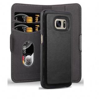 Cadorabo Hülle für Samsung Galaxy S7 - Hülle in KOHLEN SCHWARZ - Handyhülle im 2-in-1 Design mit Standfunktion und Kartenfach - Hard Case Book Etui Schutzhülle Tasche Cover