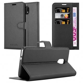 Cadorabo Hülle für WIKO LENNY 5 in PHANTOM SCHWARZ - Handyhülle mit Magnetverschluss, Standfunktion und Kartenfach - Case Cover Schutzhülle Etui Tasche Book Klapp Style
