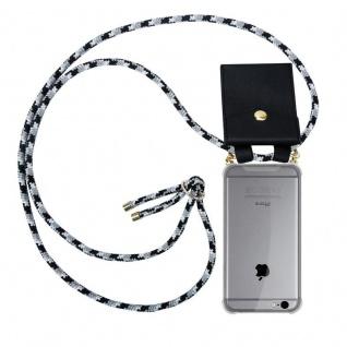 Cadorabo Handy Kette für Apple iPhone 6 PLUS / iPhone 6S PLUS in SCHWARZ CAMOUFLAGE Silikon Necklace Umhänge Hülle mit Gold Ringen, Kordel Band Schnur und abnehmbarem Etui Schutzhülle