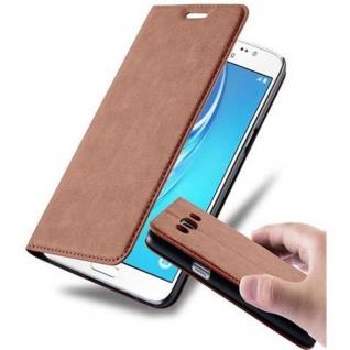 Cadorabo Hülle für Samsung Galaxy J5 2015 in CAPPUCCINO BRAUN - Handyhülle mit Magnetverschluss, Standfunktion und Kartenfach - Case Cover Schutzhülle Etui Tasche Book Klapp Style