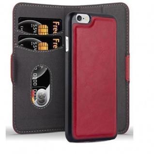 Cadorabo Hülle für Apple iPhone 6 / iPhone 6S Hülle in GRANATAPFEL ROT Handyhülle im 2-in-1 Design mit Standfunktion und Kartenfach Hard Case Book Etui Schutzhülle Tasche Cover