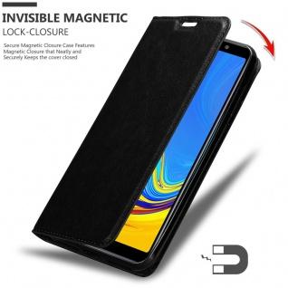 Cadorabo Hülle für Samsung Galaxy A7 2018 in NACHT SCHWARZ - Handyhülle mit Magnetverschluss, Standfunktion und Kartenfach - Case Cover Schutzhülle Etui Tasche Book Klapp Style - Vorschau 3