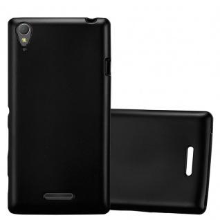 Cadorabo Hülle für Sony Xperia T3 in METALLIC SCHWARZ - Handyhülle aus flexiblem TPU Silikon - Silikonhülle Schutzhülle Ultra Slim Soft Back Cover Case Bumper