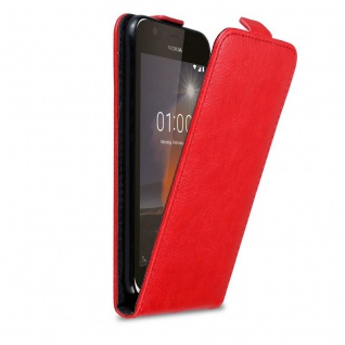 Cadorabo Hülle für Nokia 1 2017 in APFEL ROT - Handyhülle im Flip Design mit Magnetverschluss - Case Cover Schutzhülle Etui Tasche Book Klapp Style
