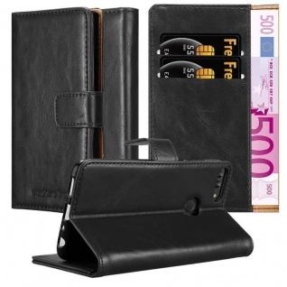 Cadorabo Hülle für Huawei P SMART 2018 / Enjoy 7S in GRAPHIT SCHWARZ Handyhülle mit Magnetverschluss, Standfunktion und Kartenfach Case Cover Schutzhülle Etui Tasche Book Klapp Style