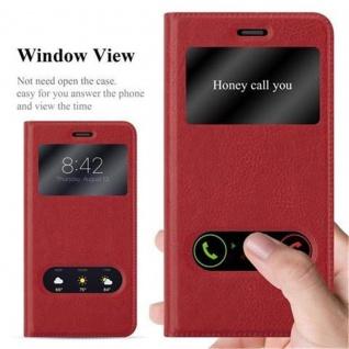 Cadorabo Hülle für Huawei P10 LITE in SAFRAN ROT - Handyhülle mit Magnetverschluss, Standfunktion und 2 Sichtfenstern - Case Cover Schutzhülle Etui Tasche Book Klapp Style - Vorschau 2