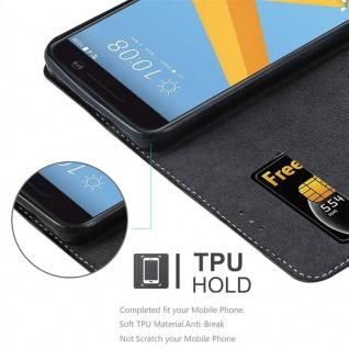 Cadorabo Hülle für HTC 10 (One M10) in SCHWARZ BRAUN ? Handyhülle mit Magnetverschluss, Standfunktion und Kartenfach ? Case Cover Schutzhülle Etui Tasche Book Klapp Style