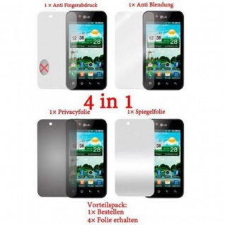 Cadorabo Displayschutzfolien für LG OPTIMUS BLACK - Schutzfolien in HIGH CLEAR ? 4 Folien (1x Privacy - 1x Spiegel - 1x Matt - 1x Anti-Fingerabdruck)