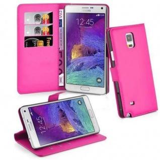 Cadorabo Hülle für Samsung Galaxy NOTE 4 in CHERRY PINK Handyhülle mit Magnetverschluss, Standfunktion und Kartenfach Case Cover Schutzhülle Etui Tasche Book Klapp Style