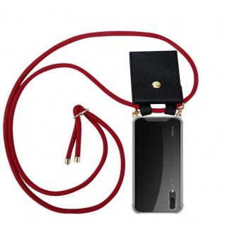 Cadorabo Handy Kette für Huawei P20 in RUBIN ROT - Silikon Necklace Umhänge Hülle mit Gold Ringen, Kordel Band Schnur und abnehmbarem Etui ? Schutzhülle