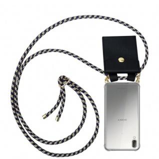 Cadorabo Handy Kette für Sony Xperia L3 in DUNKELBLAU GELB - Silikon Necklace Umhänge Hülle mit Gold Ringen, Kordel Band Schnur und abnehmbarem Etui ? Schutzhülle