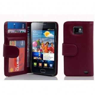 Cadorabo Hülle für Samsung Galaxy S2 / S2 PLUS in BORDEAUX LILA - Handyhülle mit Magnetverschluss und 3 Kartenfächern - Case Cover Schutzhülle Etui Tasche Book Klapp Style