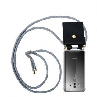 Cadorabo Handy Kette für Huawei MATE 10 PRO in SILBER GRAU - Silikon Necklace Umhänge Hülle mit Gold Ringen, Kordel Band Schnur und abnehmbarem Etui ? Schutzhülle