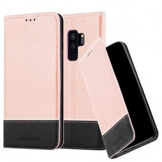 Cadorabo Hülle für Samsung Galaxy S9 PLUS in ROSÉ GOLD SCHWARZ ? Handyhülle mit Magnetverschluss, Standfunktion und Kartenfach ? Case Cover Schutzhülle Etui Tasche Book Klapp Style