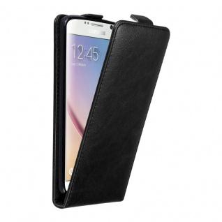 Cadorabo Hülle für Samsung Galaxy S6 in NACHT SCHWARZ - Handyhülle im Flip Design mit unsichtbarem Magnetverschluss - Case Cover Schutzhülle Etui Tasche Book Klapp Style - Vorschau 1