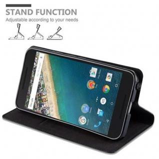 Cadorabo Hülle für LG NEXUS 5X in NACHT SCHWARZ - Handyhülle mit Magnetverschluss, Standfunktion und Kartenfach - Case Cover Schutzhülle Etui Tasche Book Klapp Style - Vorschau 5