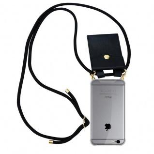 Cadorabo Handy Kette für Apple iPhone 6 PLUS / iPhone 6S PLUS in SCHWARZ ? Silikon Necklace Umhänge Hülle mit Gold Ringen, Kordel Band Schnur und abnehmbarem Etui ? Schutzhülle